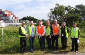 At a site meeting on 14th August, 2012: L-R Doug Benson; Steve Corish(Orica); Jeff Lord (DBL Property), Lucy Archer (Orica); Graeme Richardson(Orica); Lynda Newnam, Jocelyn Ramsay (JRLA)